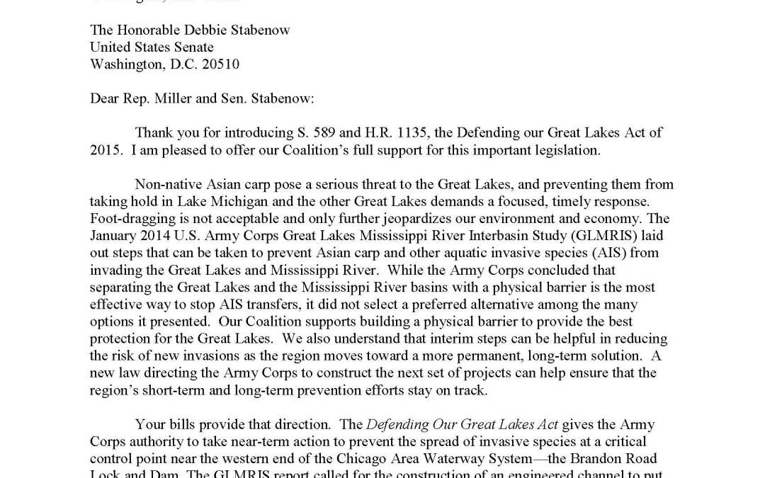 Coalition to Rep. Candice Miller and Sen. Debbie Stabenow Regarding the Defending our Great Lakes Act