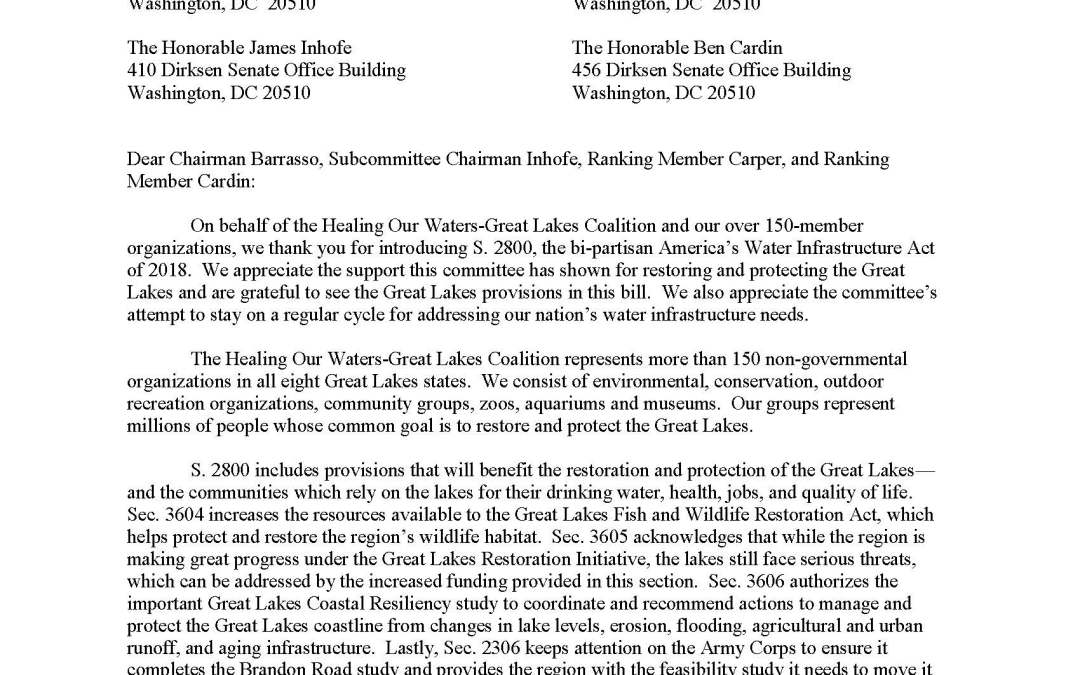 Coalition to Senators Regarding America's Water Infrastructure Act