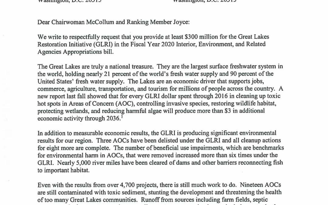 Members of the House of Representatives to Appropriators Regarding the Great Lakes Restoration Initiative