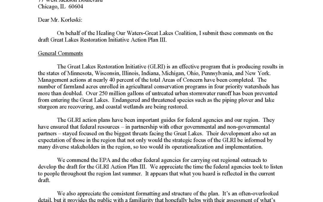 Coalition to EPA providing formal comment on the GLRI Action Plan III