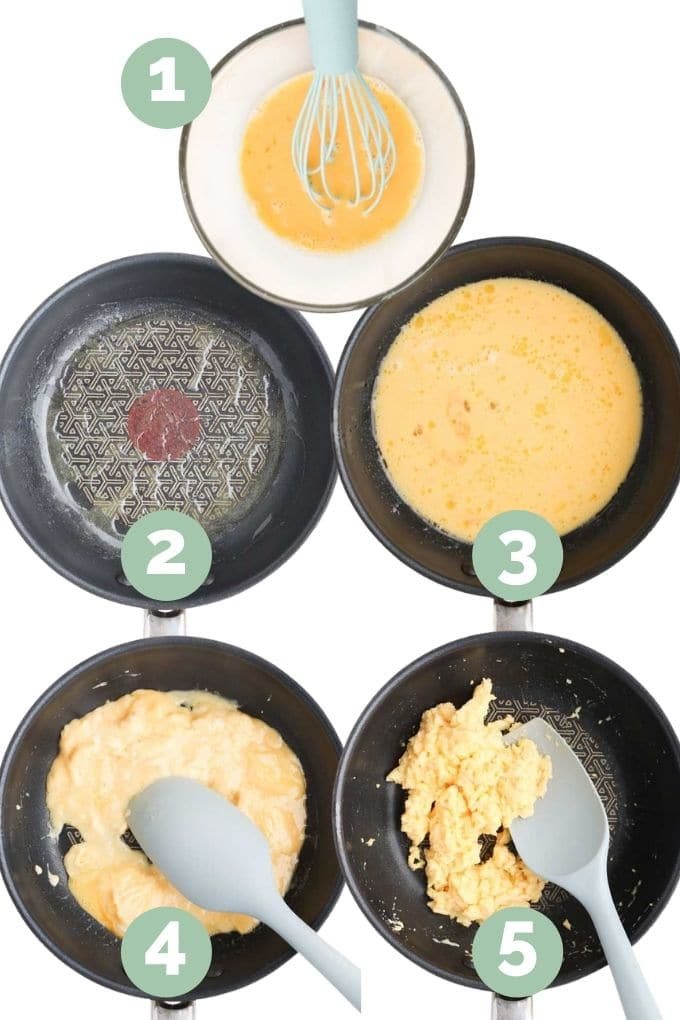 Collage of 5 Images Showing the Process Steps for Making Scrambled Eggs