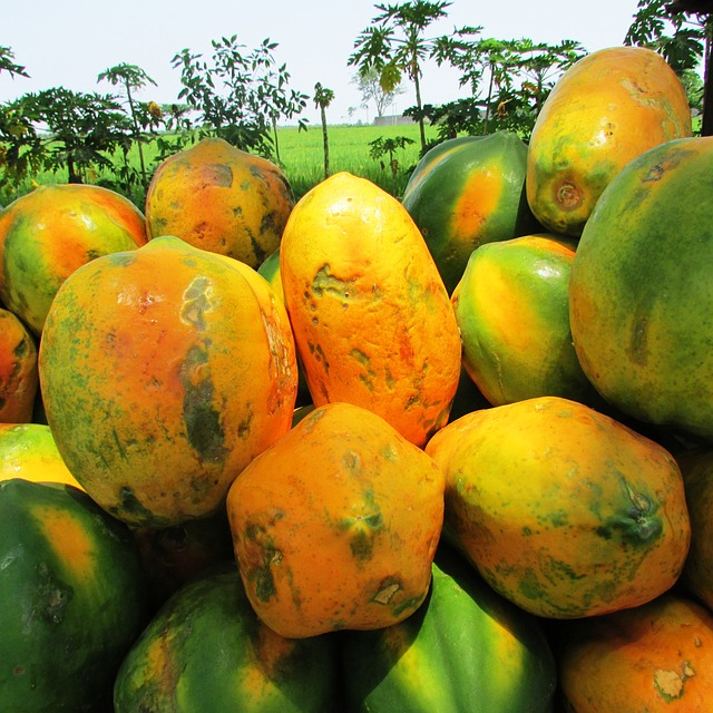 Tropical fruit like papaya approximately 59μg per fruit