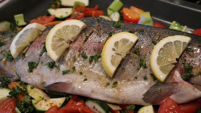 Fish; salmon contains 1.3mg/3oz and Trout contains 1.9mg/3oz