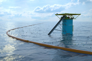 The Ocean Cleanup Array. Pictured is the center of the V, including the collection station