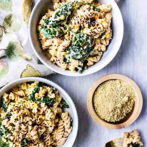 pumpkin alfredo with spinach and corn