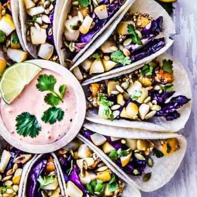 purple cabbage + crispy butternut squash tacos