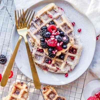 raspberry champagne waffles