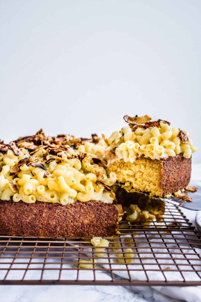 vegan, gluten-free Mac n' cheese cornbread cake with coconut bacon