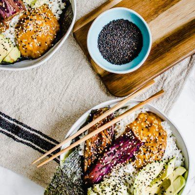 Gluten-free, vegan, plant based Miso Eggplant Sushi Bowls with Mango Chutney + Edamame Hummus by Healthy Little Vittles