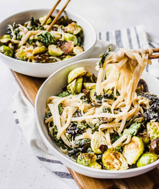 Gluten-free, vegan Kale and Brussels Miso Mustard Noodle Bowls by Healthy Little Vittles