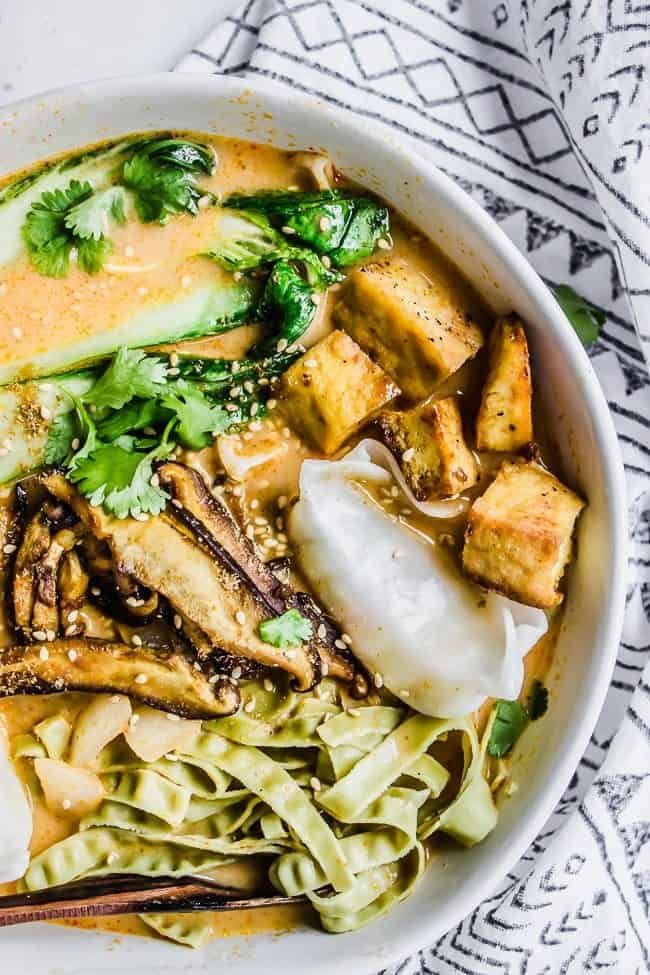 Baby Bok Choy + Shiitake Red Curry Soup