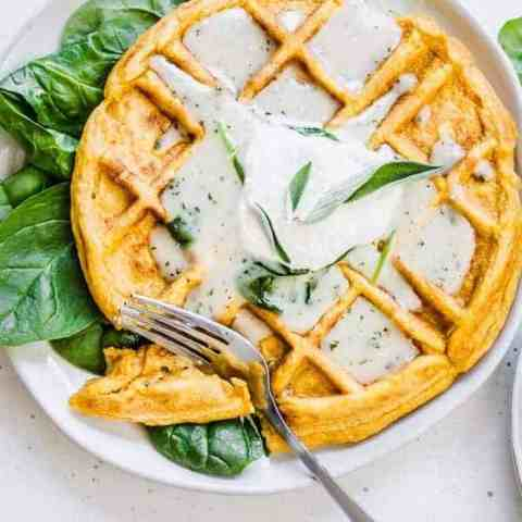 Savory Sweet Potato Waffles with Sage Butter Gravy