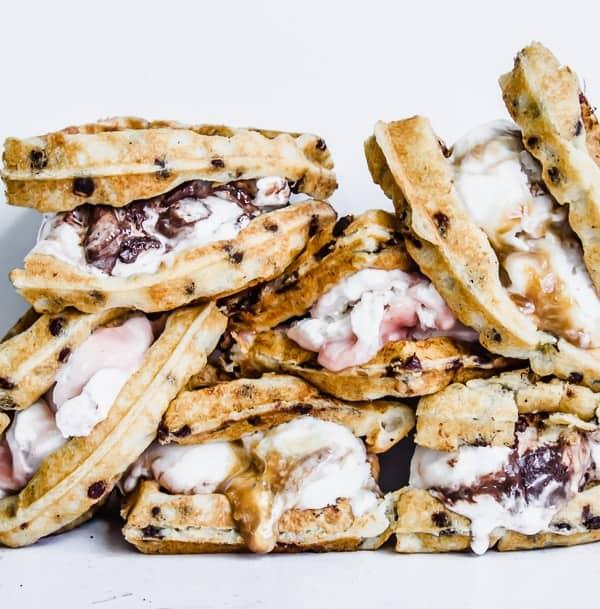 chocolate chip waffle ice cream sandwiches