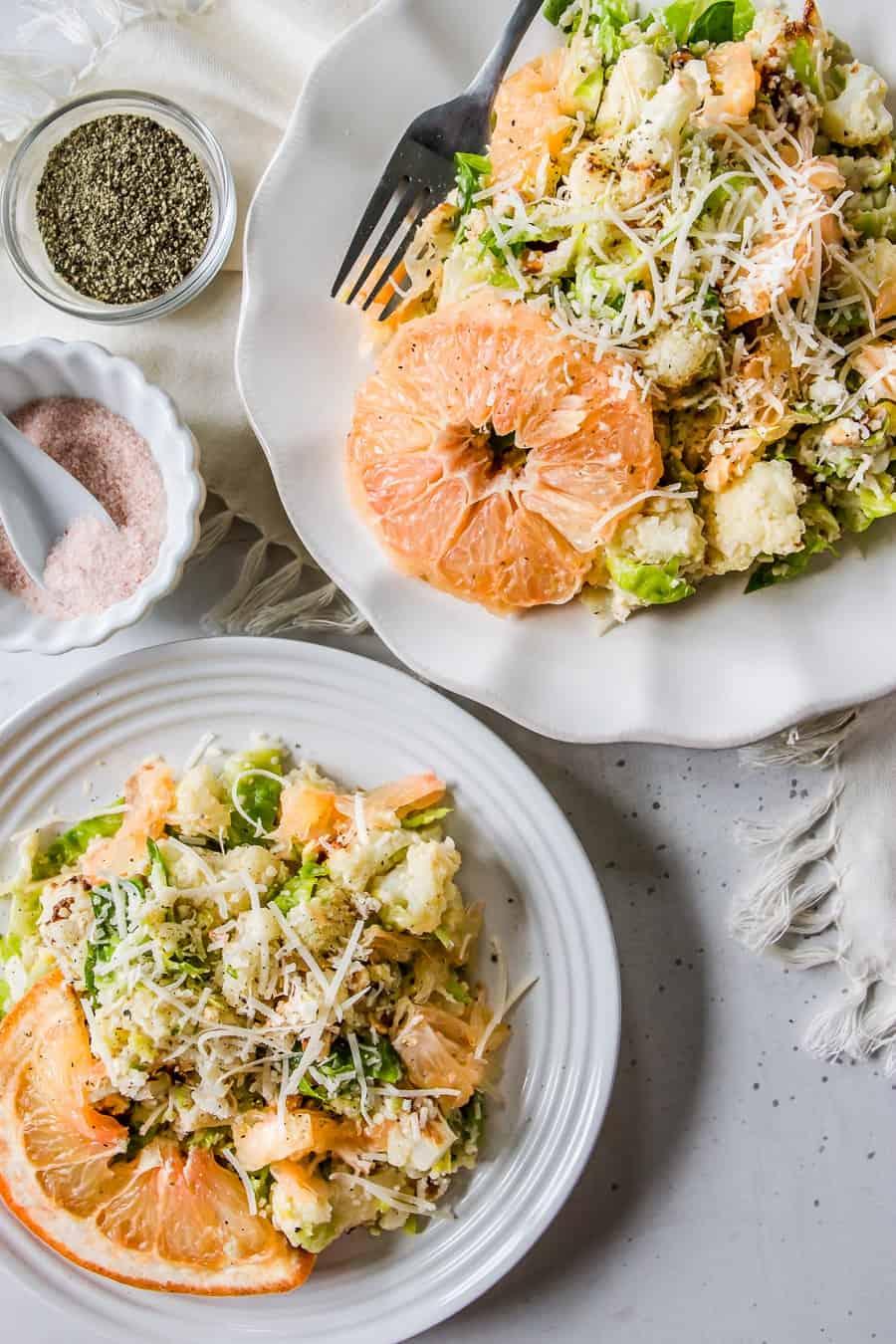 Brussels + Roasted Cauliflower Citrus Salad