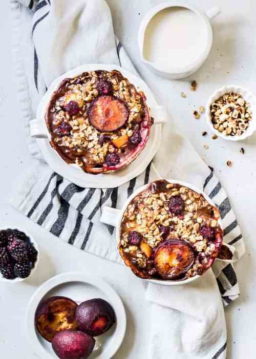 roasted pear blackberry hazelnut baked oatmeal