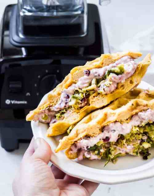 Cranberry and Brussels sweet potato waffle sandwiches