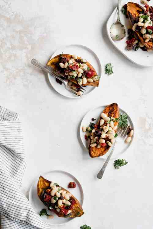 Mediterranean White Bean Stuffed Sweet Potatoes