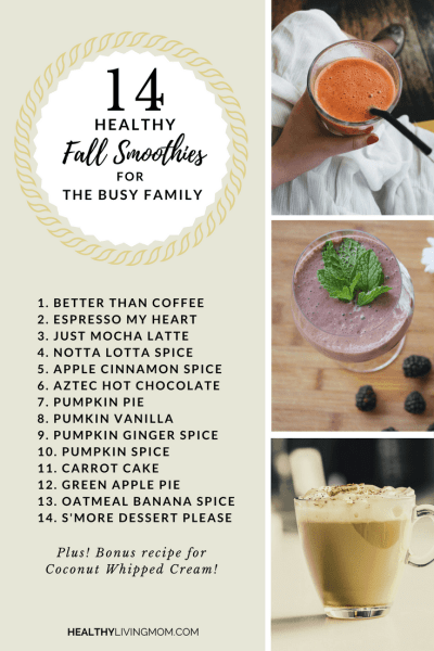 14 healthy fall smoothies for the busy family. In case you wondered—yes smoothies can be a hot drink. 14 recipes for the pumpkin spice lovers, apple cinnamon, hot chocolate and more!