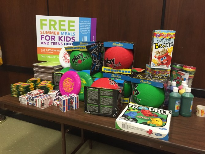 Some of the toys and games donated to NDS by St. Joe's Prep