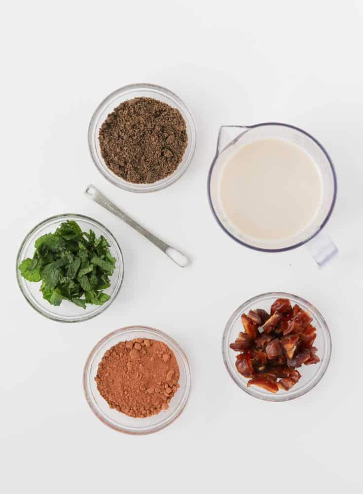 skinny chocolate mint chia powder pudding ingredients