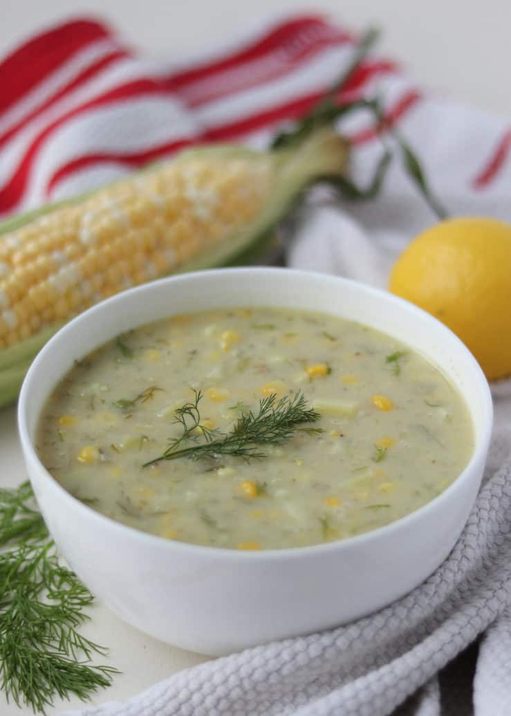 Lemony corn chowder closeup
