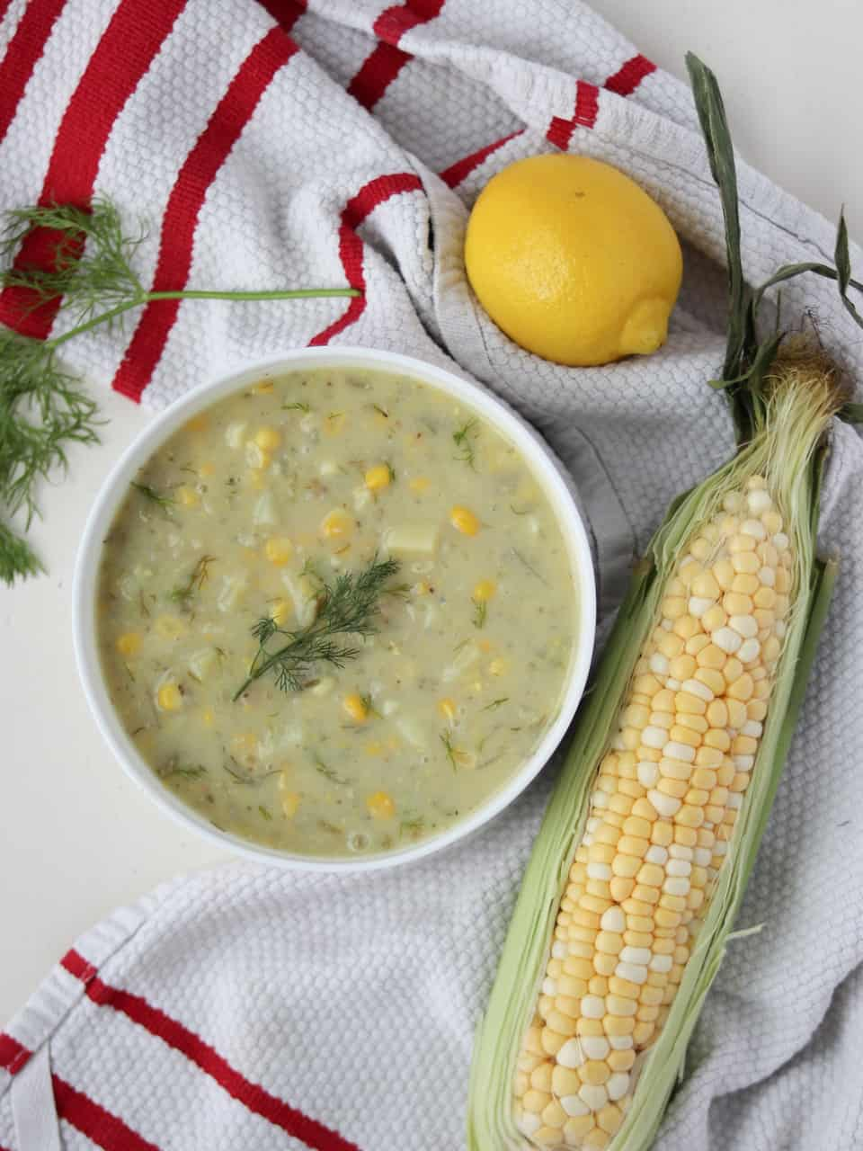lemony sweet corn chowder overhead