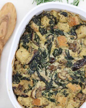 Kale Mushroom Bread Pudding