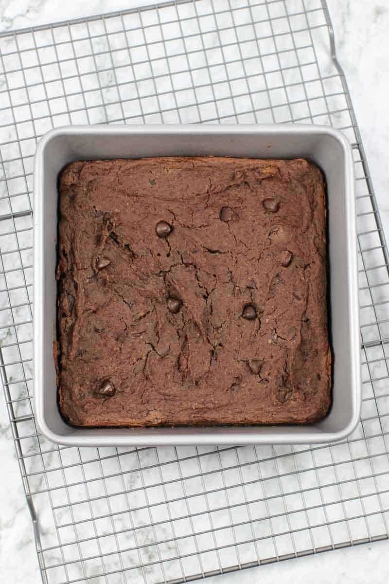 Healthy Brownies in a pan on a cooling rack