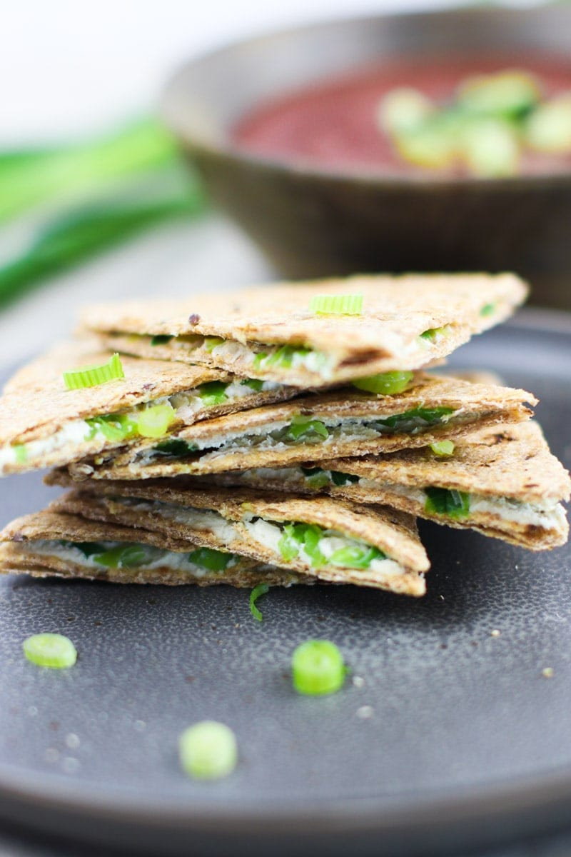 Scallion Cashew Cheese Vegan Quesadillas