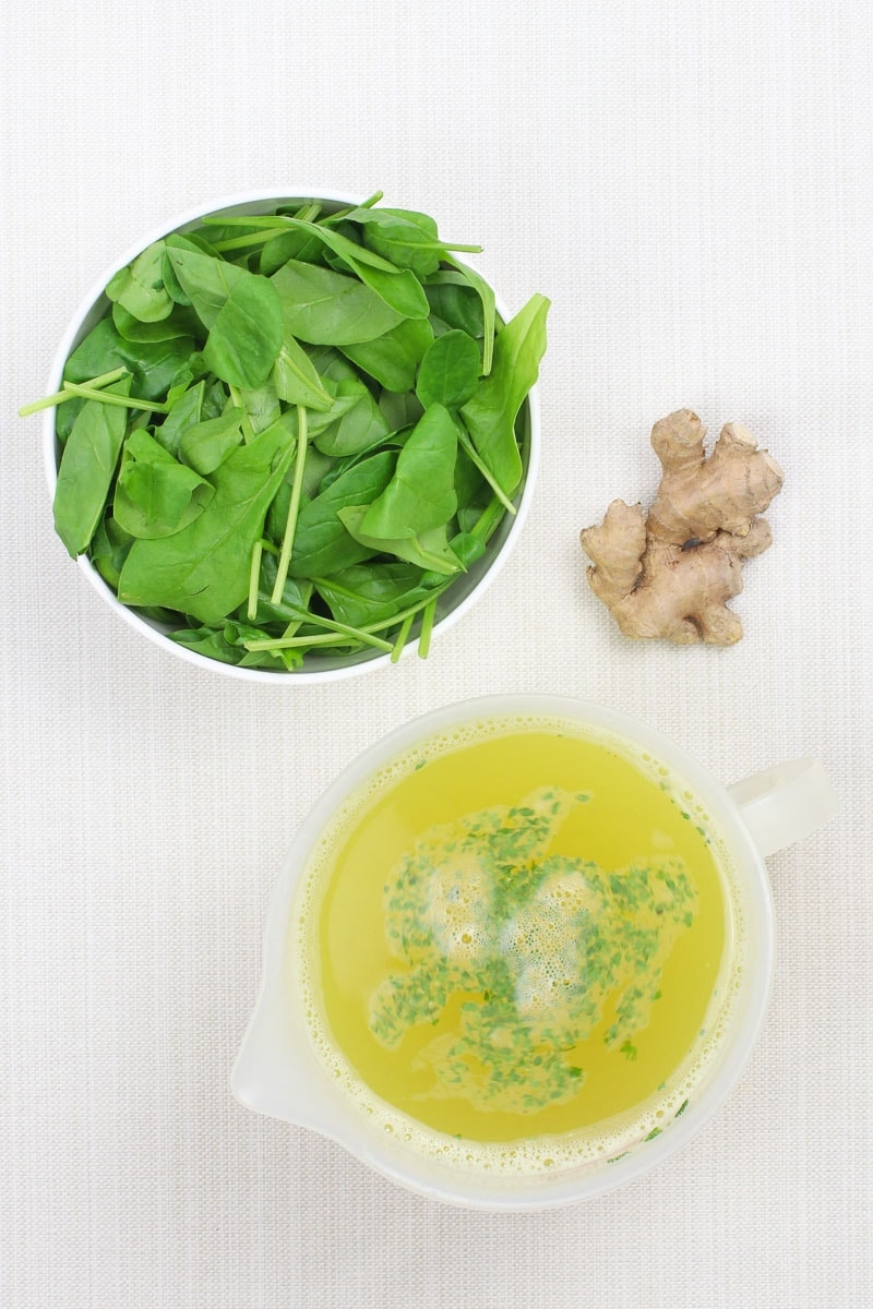 Vegan Spinach Soup ingredients: fresh spinach, ginger, vegetable broth