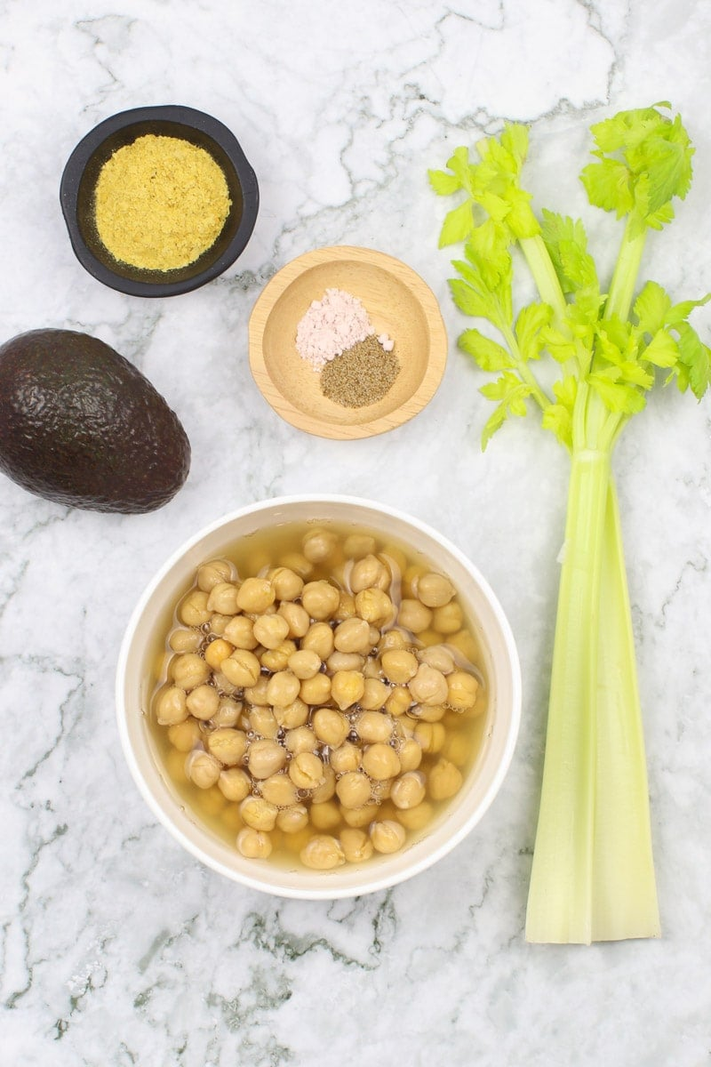 vegan egg salad ingredients on a marble counter
