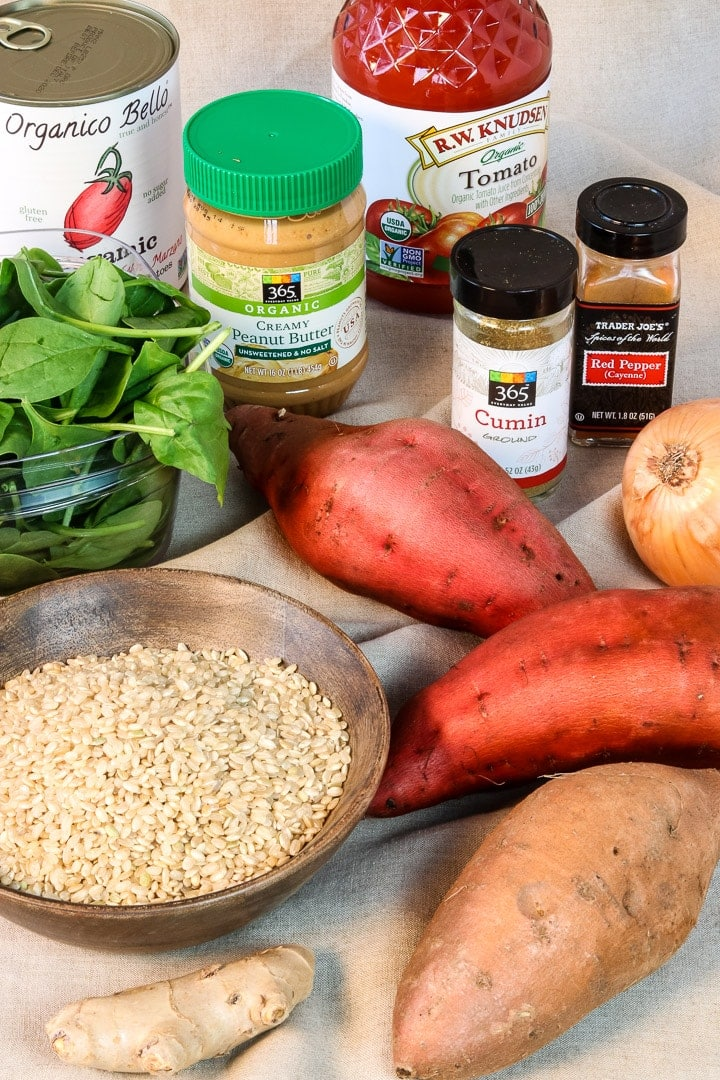 ingredients: sweet potatoes, peanut butter, canned tomatoes, tomato juice, spinach, ginger, onion, garlic, spices.