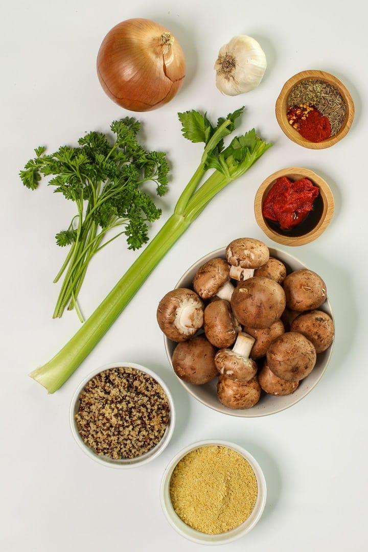 Ingredients: bella mushrooms, quinoa, vegan Parmesan, onion, garlic, celery, parsley, tomato paste, vegan Worcestershire sauce whole fennel seed, Italian seasonings, crushed red pepper and smoked paprika.