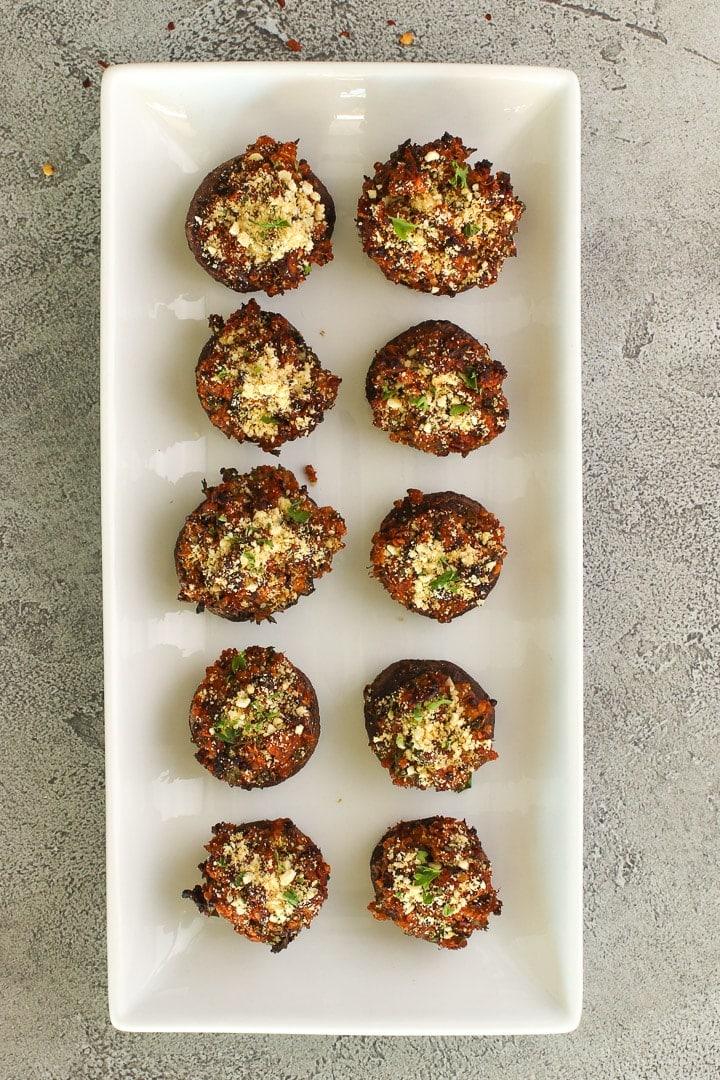 vegan stuffed mushroom appetizer platter