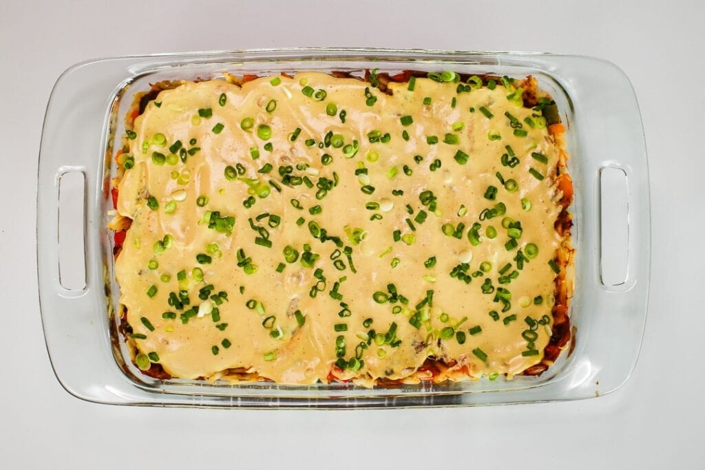 Finished Mexican breakfast casserole.
