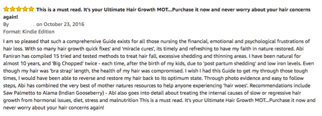 Reviews of The Ultimate Hair Growth Guide, a comprehensive guide for stopping hair loss, regrowing bald spots and thin hair