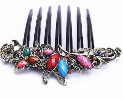 hair accessory FACILLA® Flower Mix Color Metal Rhinestone Hair Comb
