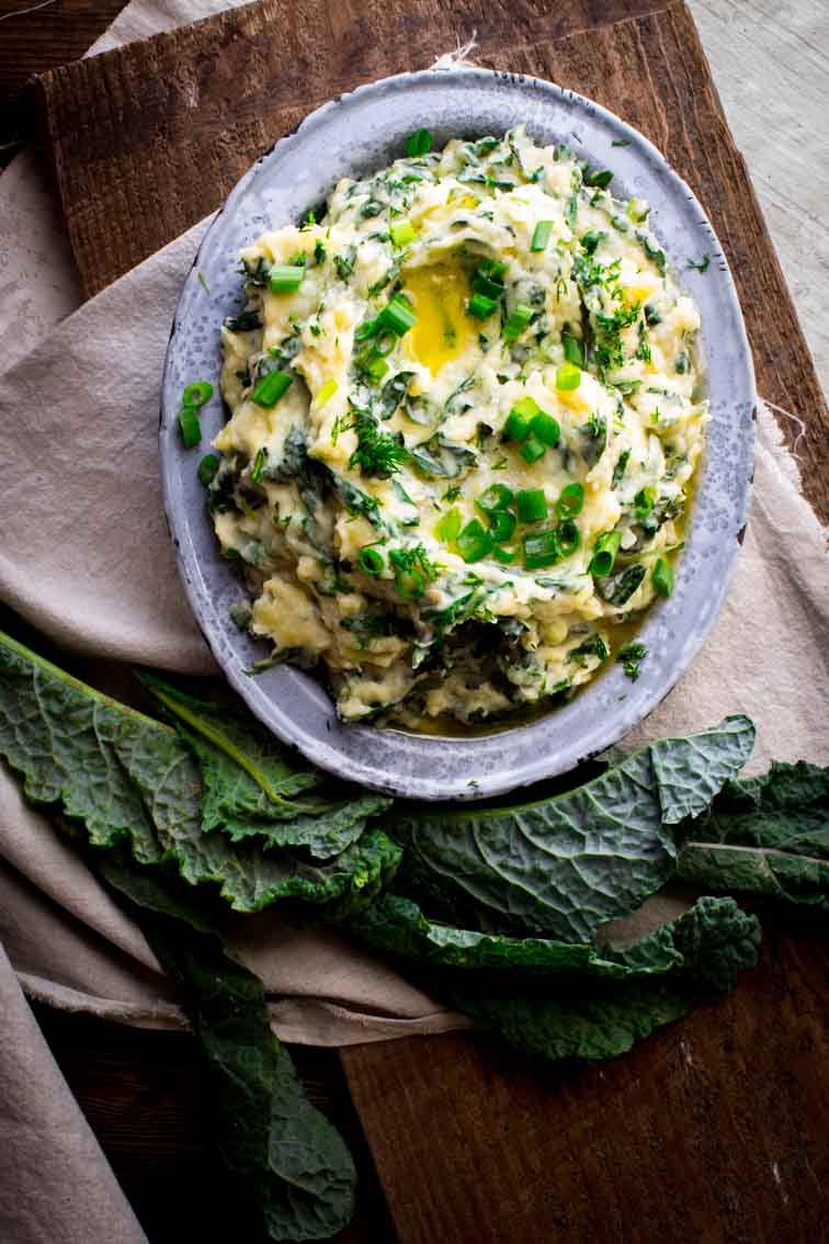 Cheddar Horseradish Colcannon | Side Dish | Mashed Potatoes | Kale | 40 minutes or less | Spring | Healthy Seasonal Recipes | Katie Webster