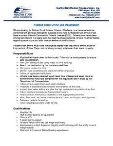 Hsmt Flatbed Truck Driver Job Description Healthy Start Medical