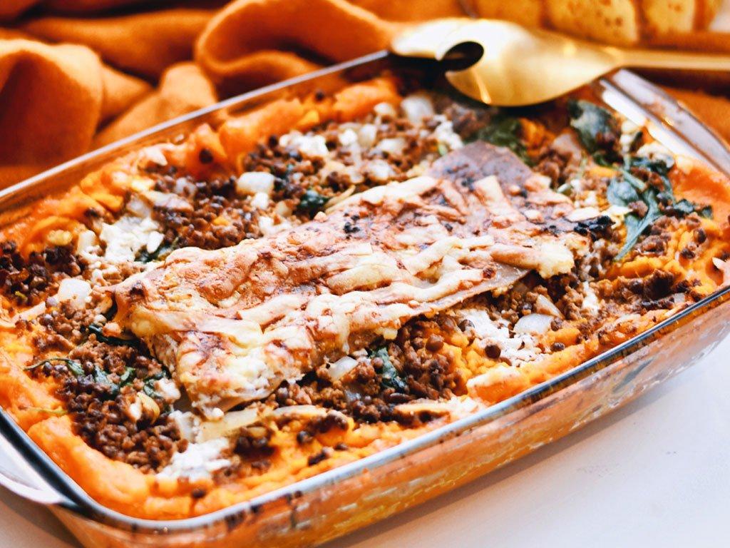 Vegetarische lasagne met pompoen en spinazie | Vegetarisch recept