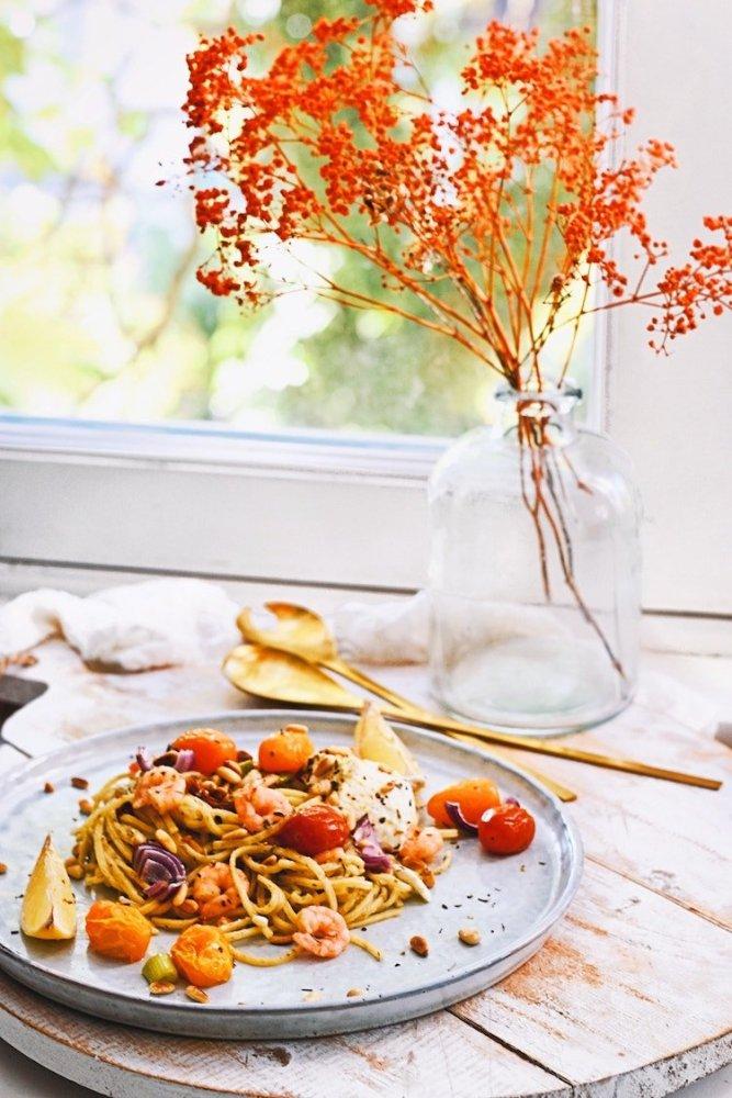 Pasta met ricotta, citroen en garnalen | Pasta gerecht uit de oven