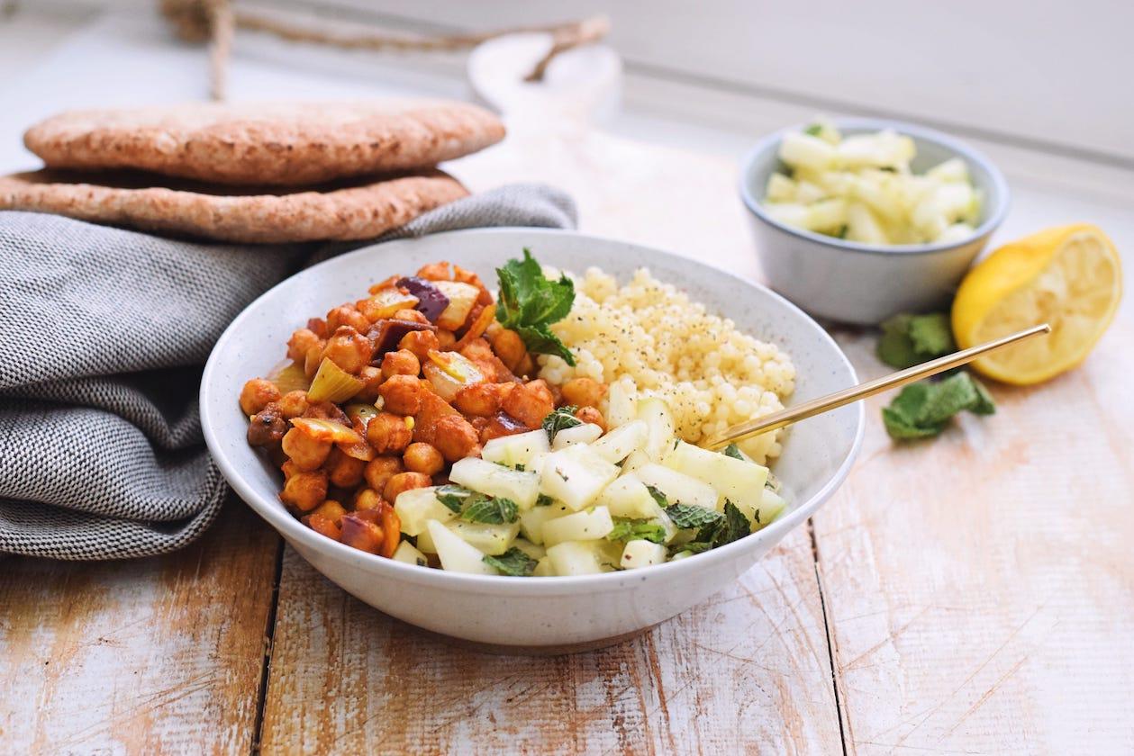 Gekruide kikkererwten couscous | Gezonde recept | Healthy Wanderlust