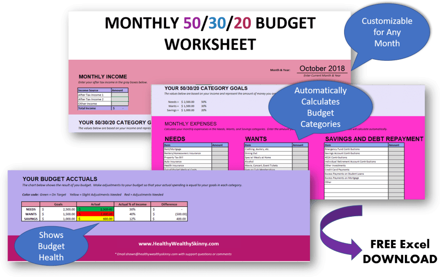 Free 50/30/20 Budget Worksheet | Free Excel Download to Help you Create and Maintain Your Budget