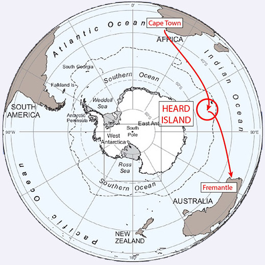 Polar projection map of the route to and from Heard Island.  Image credit: Bob Schmieder/Cordell Expeditions