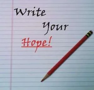 Notepad and pencil with the words Write Your Hope!