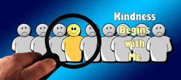 Smiling cartoon character in a line of frowning characters with the title Kindness Begins with Me.