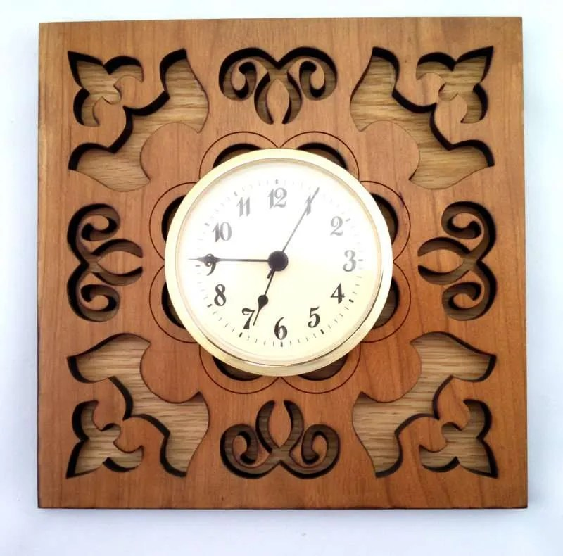 Square Hardwood Wall Clock-cherry on oak