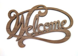 Welcome Sign-walnut