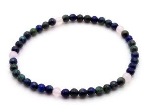 elastic gemstone bead bracelet - rose quartz and chrysocolla.