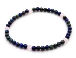 elastic gemstone bead bracelet - rose quartz and chrysocolla.
